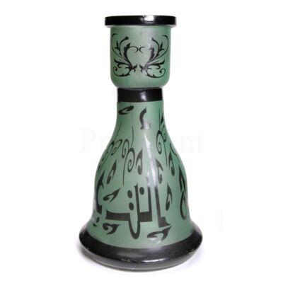 Üveg víztartály ¤ 26cm ¤ Zöld/fekete ¤ Arab írásos