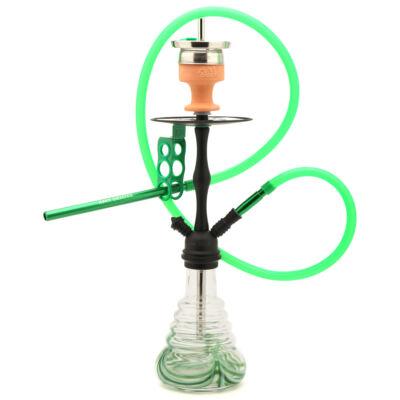 Amy Deluxe Stillness Vízipipa ¤ Zöld üveg & Matt fekete test ¤ 60cm ¤ Szilikon csővel