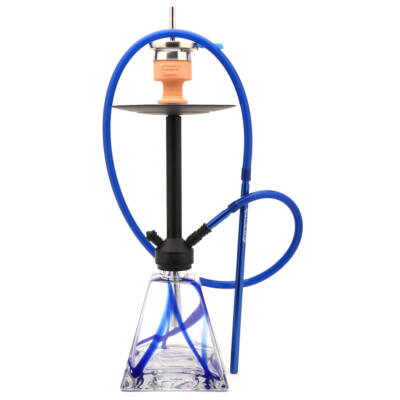 Amy Deluxe Discovery Vízipipa ¤ Kék üveg & Matt fekete test ¤ 70cm ¤ Szilikon csővel
