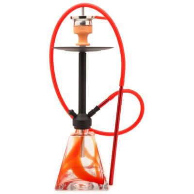 Amy Deluxe Discovery Vízipipa ¤ Piros üveg & Matt fekete test ¤ 70cm ¤ Szilikon csővel