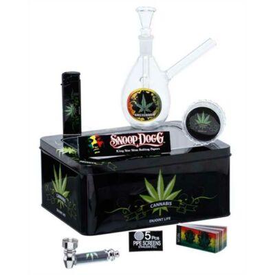 Üveg bong készlet fém dobozba ¤ Cannabis Leaf Bong Set ¤ 16cm