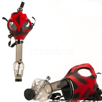 Gáz maskos bong koponyával ¤ Piros/Fekete