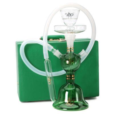 Dud Üveg vizipipa ¤ Fat Boy ¤ Zöld ¤ 34cm ¤ Szilikon cső ¤ Bőr koffer