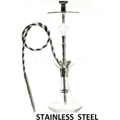 DUD Shisha ¤ Temple ¤ 85cm ¤ Átlátszó üveg & Króm test ¤ Szilikon cső